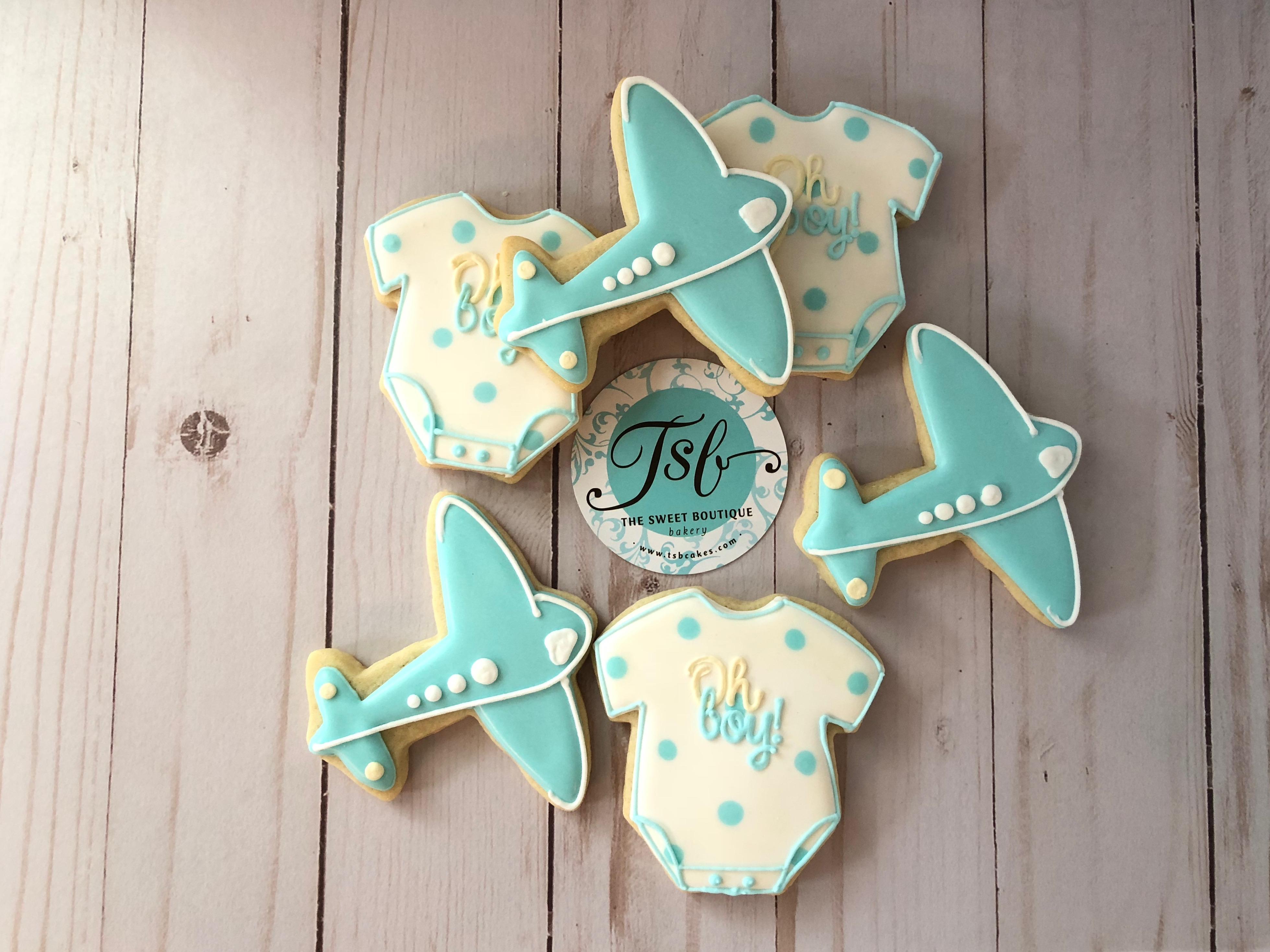 Airplane Baby Shower Cookies