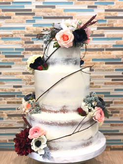 Naked Wedding Cake with Silk Flowers