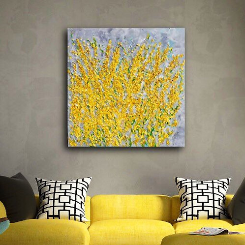 Forsythia - Beautiful Yellow 36 x 36 Painting Wall Art  Free Shipping in US