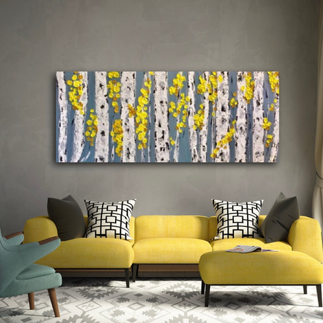 Aspen Birch Trees 48 w x 30 h x 1.25 Gallery Wrapped Canvas MADE TO ORDER
