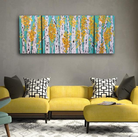 Aspen Birch Trees Teal Background