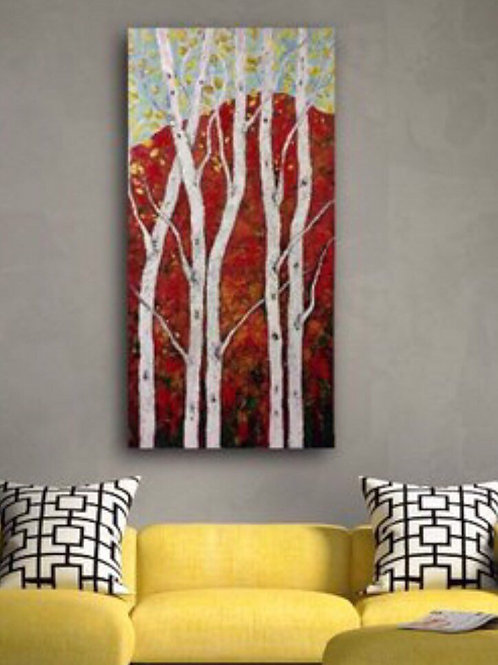 Aspen Trees 24w x 48h on gallery Wrapped Canvas