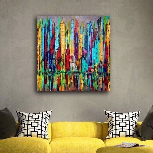 Skyline 36 x 36 Gallery Wrapped Canvas Painting Free Shipping