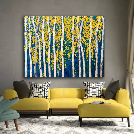 Aspen Birch Trees Contemporary Painting 60x48 Painting on Gallery Wrapped Canvas