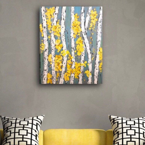 Aspen Birch Trees Contemporary Wall Art Painting on Gallery Wrapped Canvas