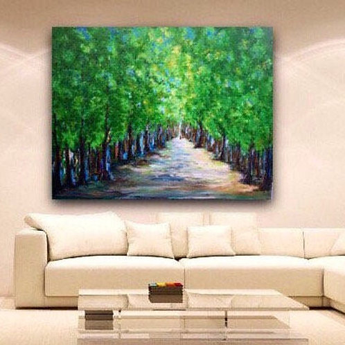"""Take Me There"" 60 w x 48 h Tree-lined path painting on a gallery wrapped canvas"