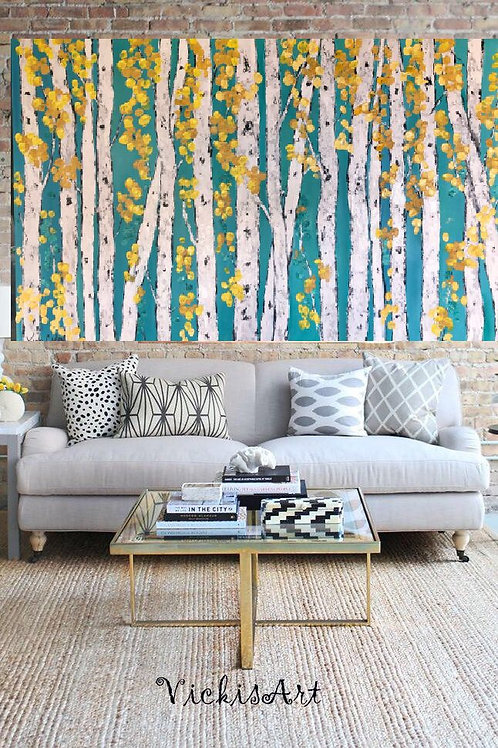 Spring Aspen Birch Trees 40 w x 30 high Gallery Wrapped Canvas Free Shipping US