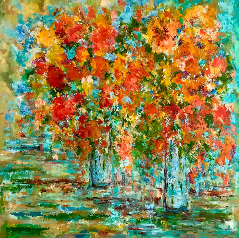 Contemporary Floral 48 x 48 Gallery Wrapped Canvas Free Shipping in US