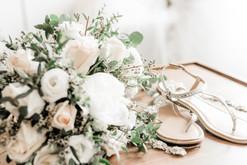 Details- bouquet and shoes