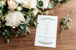 Details- invitation and bouquet