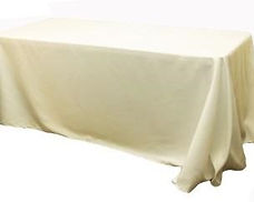 Kelli's Party Rental  ivory rectangular tablecloths for rent on a budget, low price