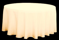 Kelli's Party Rental ivory round tablecloths for rent on a budget, low price
