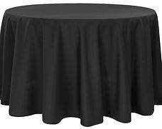 Kelli's Party Rental black round tablecloths for rent on a budget, low price