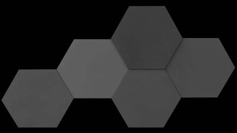 משושה תלת מימד 3 גוונים של אפור