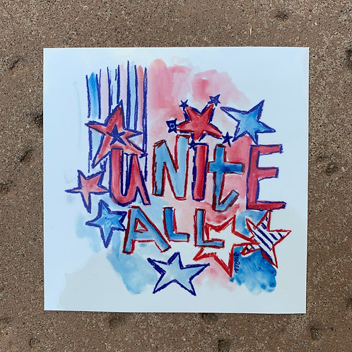 """Unite All"" Car Sticker 5"" x 5"""
