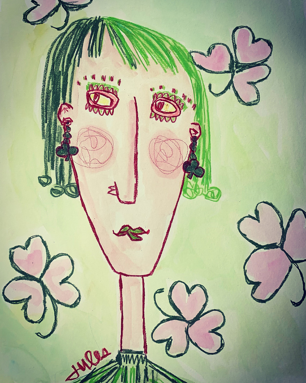 """BiTsy SnoDgraSs has f o r e v e r believed that St. Patrick's Day was a l❤️ve day in disguise. To Bitsy, it was obvious that a shamrock was, indeed, a heart-leaf cluster...but in green.   And so, on this day, she put extra effort into finding her love match.   Gordy, across the street, and down three blocks, was her hopeful love this St. Patrick's Day.   Her tactic was simple. She knew the exact time when he walked, Bill, his rescued shepherd.   She would dress in green, dye her hair to match, tint her eyebrows & eyelashes for extra affect, and finish with her newly purchased, """"lime-glow sizzle"""" lipstick. This was all for a perfect conversation starter, and most appropriate for this day.   It was 6:40 am. Bitsy stepped out of her door and anxiously walked her love path.  Her eyes caught his plaid jacket a block away. Her heart pitter-pattered. She drew closer.   """"What?!"""" A woman from nowhere raced up behind him, & threw her arms around her Gordy!   Who was this interference? Her heart stopped. Bitsy could barely watch. He whisked around and returned her embrace.   Bitsy was now just steps away from this awkward encounter. Her love match was evaporating before her eyes. It was like watching a bad movie.   Would he kiss this intruder...Bitsy's kiss, on her love day?   Just then Bitsy  tripped. She let out a shrill shriek!  When she looked up from the ground, there was Gordy, and his brown eyes.   He pulled her up, & asked if he could help her home.   Where was the girl?!—-Oh...there she was, behind him.   Just how will this story end?! Who will meet Gordy's lips this St. Patrick's  Day of love?! And...who is that """"other"""" woman? ...You decide.   HaPpy St. Patrick's LoVe Day! ❤️☘️❤️"""