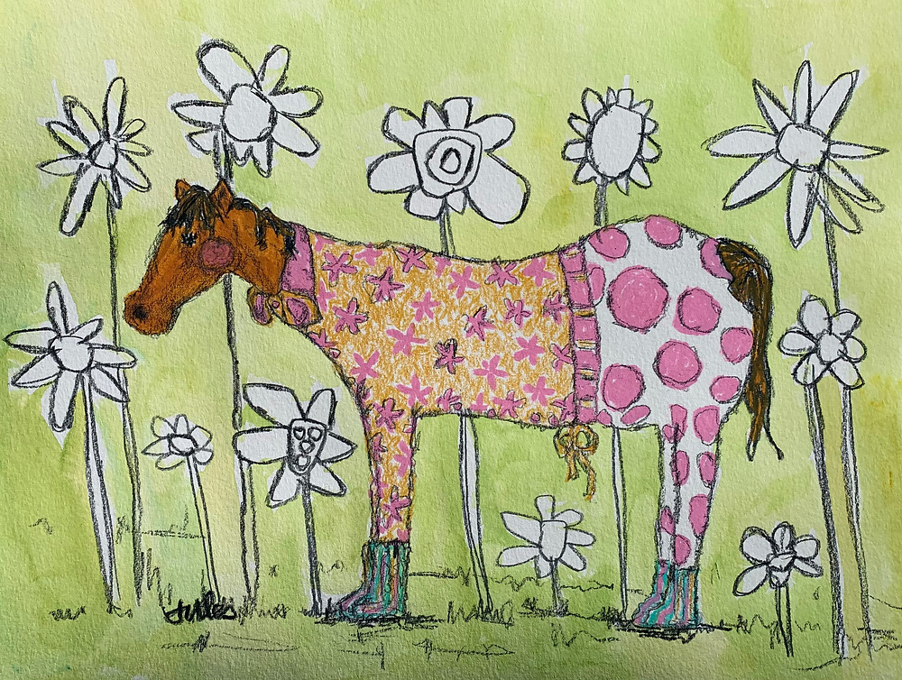Marisol the mare, tried many avenues to attract Stu the stallion. So far, everything failed. She now would play hard.--Mareisol ordered a pair of mail -order pajamas. However, these weren't the ordinary, one-size-fits-all pajamas. these were specifically made to her measurements. The polka dot fabric she chose would, indeed, accentuate her best feature, her tail. --She breathed in the excitement of the day ahead. Marisol dressed in her pajamas, and stood high on the hill...waiting for Stu. <3