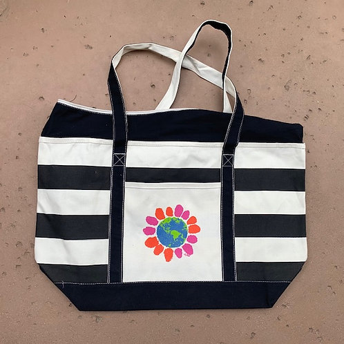 SaVe the EaRtH DaiSy StriPed BaG