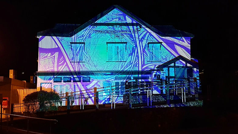 Cooran Hall with creative lighting proje