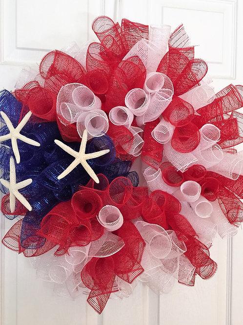 Patriotic Starfish Wreath
