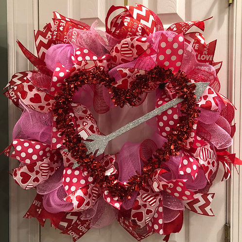 Red & Pink Heart & Arrow Wreath