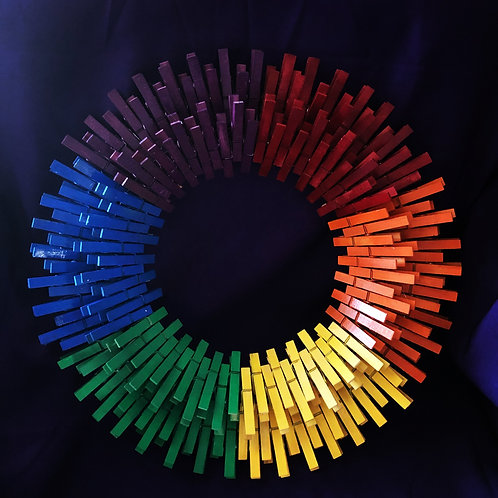 Rainbow Clothespin Wreath