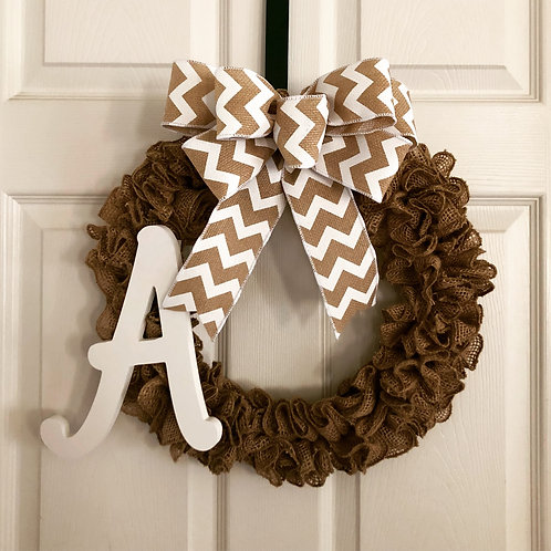 Burlap Initial Chevron Ribbon Wreath