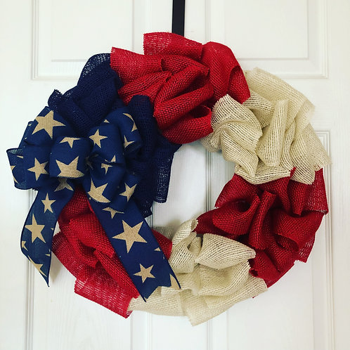 Red White & Blue Burlap Wreath