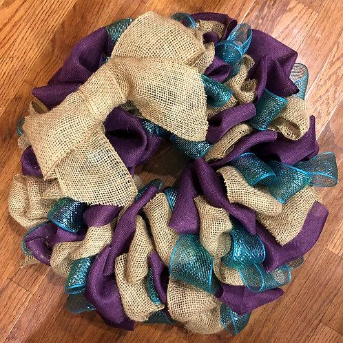 Purple & Teal Burlap Wreath