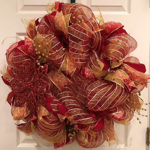 Red & Gold Poinsettia Wreath