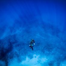 Talus Carpenter ascending from a deep reef off Oahu, HI.