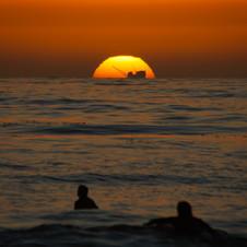 Sunset behind the Rig, Santa Barbara, CA