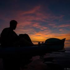 Aaron Howard, sunset from the kayak