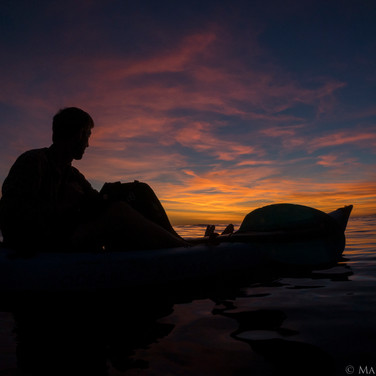 Aaron Howard, sunset from the kayak