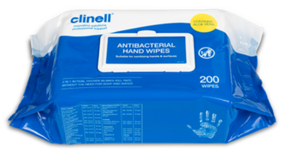 Clinell Antibacterial Hand 200 Wipes 1 pack