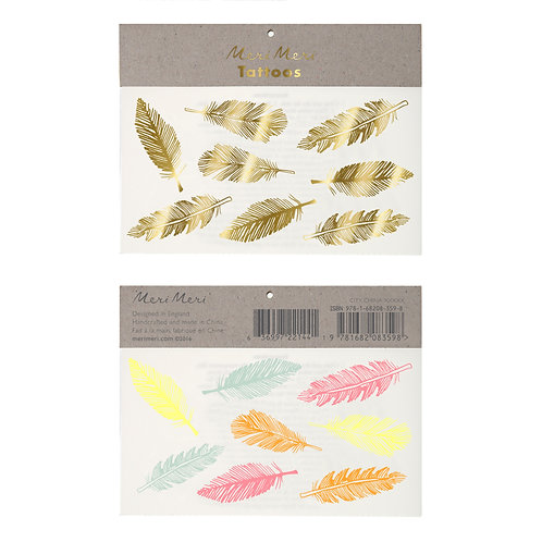 GOLD AND NEON FEATHERS TEMPORARY TATTOOS