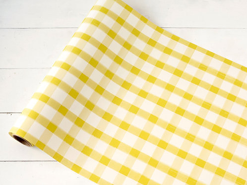 YELLOW PAINTED CHECK PAPER TABLE RUNNER