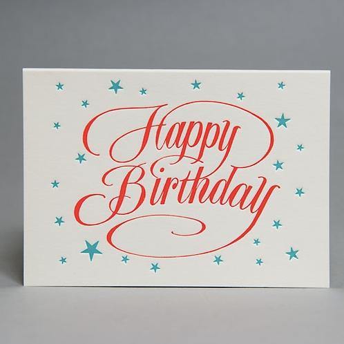 HAPPY BIRTHDAY SCRIPT CARD (ORANGE)