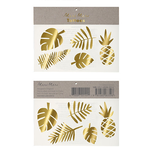 GOLD TROPICAL TEMPORARY TATTOOS