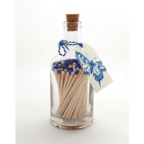 BLUE & WHITE MATCH GLASS BOTTLE