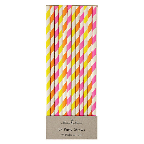NEON STRIPED STRAWS