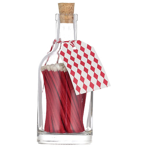 RED MATCH GLASS BOTTLE