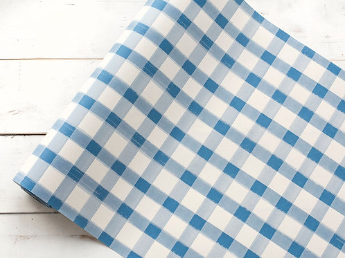 BLUE PAINTED CHECK PAPER TABLE RUNNER