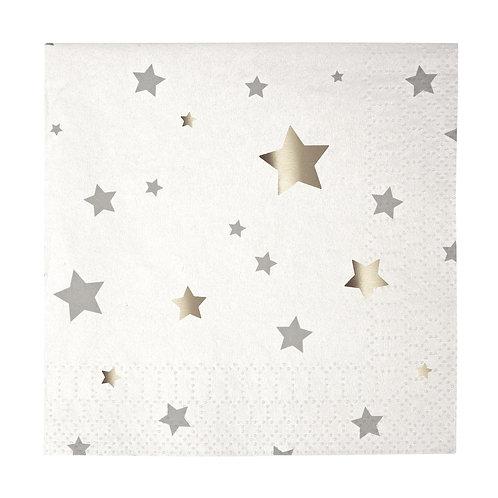 SILVER STARS SMALL NAPKINS