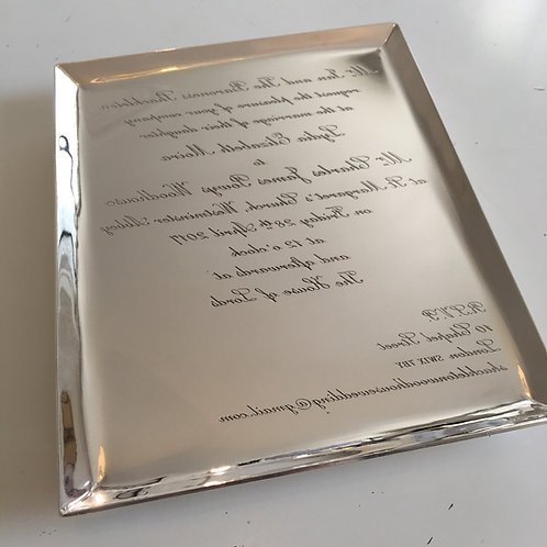SILVER INVITATION TRAY WITH FEET