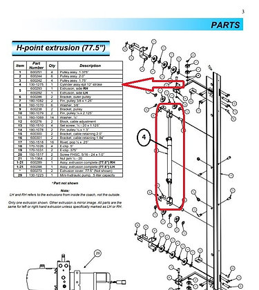 power gear h point cylinder 130 1275