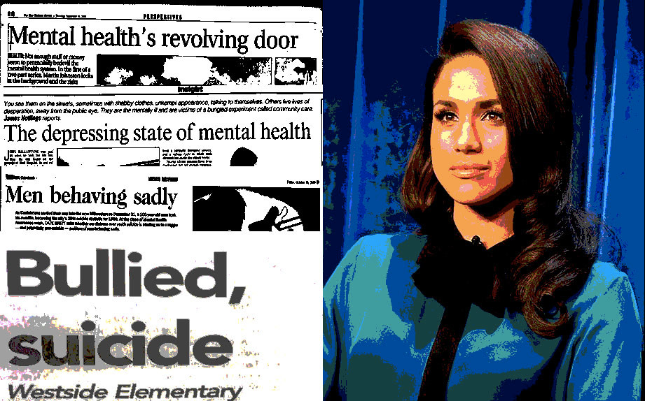 """A photograph of Meghan Markle on the Right hand side, alongside some headlines reading: """"Mental Health's Revolving Door"""", """"The depressing state of mental health"""", """"Men behaving sadly"""" and """"Bullied, Suicide""""."""