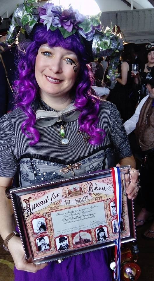 The lovely Karen Hanley with her award - YET AGAIN! And this time, her name shall forever be engraved upon the Nonsuch Ashes!