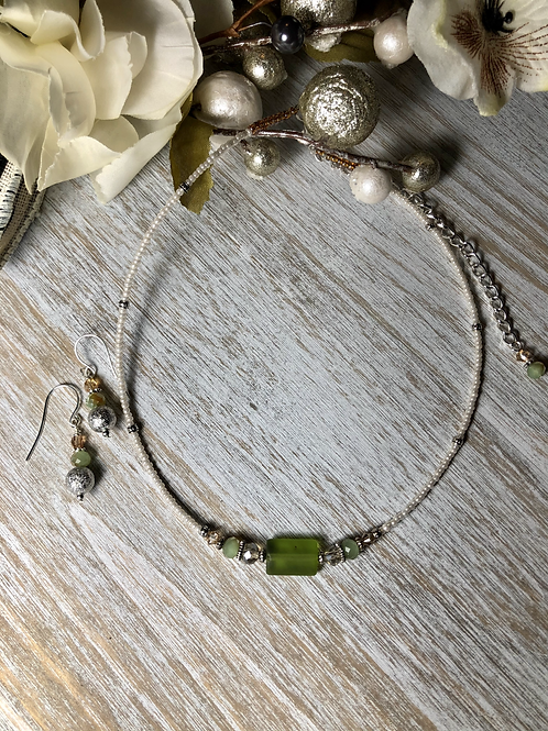 Dainty Choker with Frosted Greens