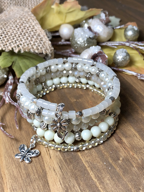 Butterfly & Flowers in Classic Cream